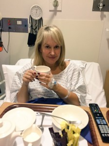 In hospital with a cuppa